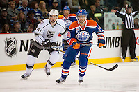 KELOWNA, CANADA - OCTOBER 2: Jordan Eberle #14 of the Edmonton Oilers skates against Los Angeles Kings on October 2, 2016 at Kal Tire Place in Vernon, British Columbia, Canada.  (Photo by Marissa Baecker/Shoot the Breeze)  *** Local Caption *** Jordan Eberle;