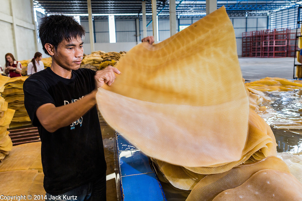 02 SEPTEMBER 2014 - BO THONG, CHONBURI, THAILAND: A worker at Bothong Rubber Fund Cooperative in Bo Thong, Chonburi, Thailand, stacks rubber sheets purchased from area farmers before the sheets were washed. Thailand is the leading rubber exporter in the world. In the last two years, the price paid to rubber farmers has plunged from approximately 190 Baht per kilo (about $6.10 US) to 52 Baht per kilo (about $1.60 US). It costs about 65 Baht per kilo to produce rubber ($2.05 US). A rubber farmer in southern Thailand committed suicide over the weekend, allegedly because the low prices meant he couldn't provide for his family. Other rubber farmers have taken jobs in the construction trade or in Bangkok to provide for their families during the slump.    PHOTO BY JACK KURTZ