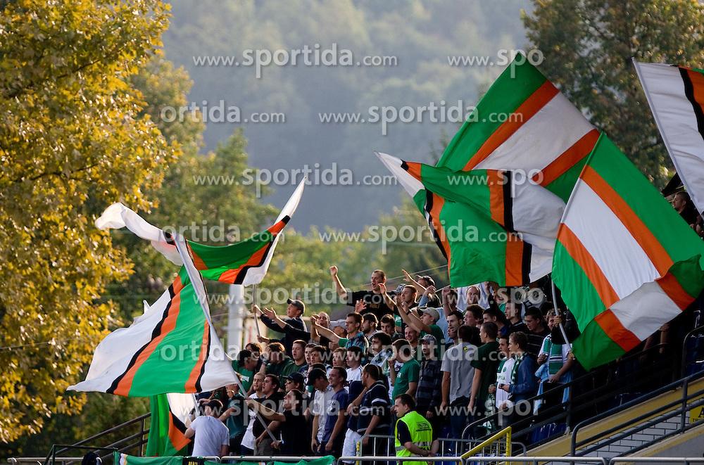 Fans Green Dragons at the football match Olimpija vs Hit Gorica in 11th Round of Prva liga 2009 - 2010,  on September 27, 2009, in ZSD Ljubljana, Ljubljana, Slovenia.  (Photo by Vid Ponikvar / Sportida)