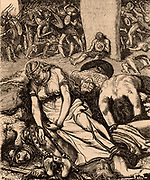 Boudicca (Boadicea) lst century British queen of the Iceni after her defeat.   Overwhelmed by the Romans under Suetonius, Boudicca is said to have taken poison.  The location of the battle is unknown, but some think it is likely to have been at the junction of the Fosse Way and Watling Street in Leicestershire, England. Wood engraving c1870.