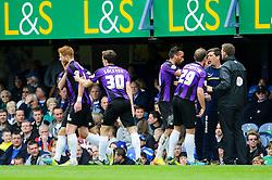 Matt Harrold (ENG) of Bristol Rovers celebrates scoring a goal by the dugout - Photo mandatory by-line: Rogan Thomson/JMP - 07966 386802 - 19/04/2014 - SPORT - FOOTBALL - Fratton Park, Portsmouth - Portsmouth FC v Bristol Rovers - Sky Bet Football League 2.
