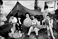During the spring of 1999 thousands fled from the war in Kosovo to the neighboring country Albania. Refugee tent camp.