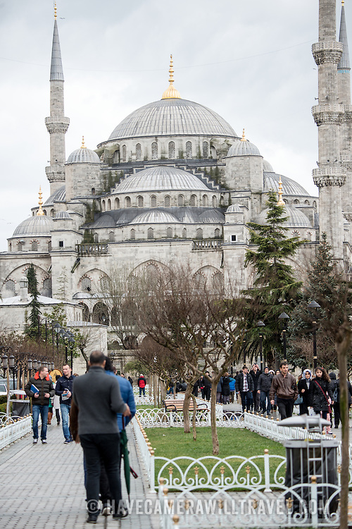 While it is widely known as the Blue Mosque for the its interior tiling, the mosque's formal name is Sultan Ahmed Mosque (or Sultan Ahmet Camii in Turkish). It was built from 1609 to 1616 during the rule of Sultan Ahmed I.
