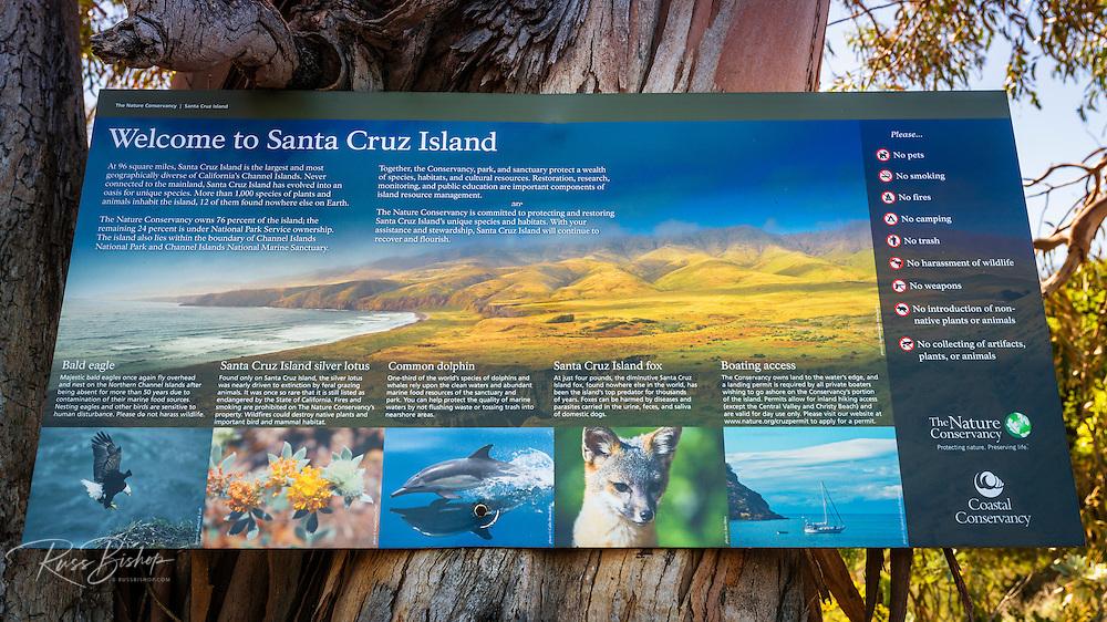 Interpretive sign, Santa Cruz Island, Channel Islands National Park, California USA