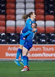 WIDNES, ENGLAND - Wednesday, February 7, 2018: Arsenal Ladies' Dominique Janssen celebrates scoring the second goal during the FA Women's Super League 1 match between Liverpool Ladies FC and Arsenal Ladies FC at the Halton Stadium. (Pic by David Rawcliffe/Propaganda)
