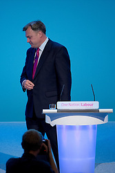 © London News Pictures. 23/09/2013 . Brighton, UK.   Shadow Chancellor of the Exchequer, ED BALLS delivering a speech on the British economy on day two of the Labour Party Annual Conference in Brighton. Photo credit : Ben Cawthra/LNP