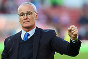 Leicester City Manager Claudio Ranieri celebrates a 2 goal comeback to secure a point during the Barclays Premier League match between Stoke City and Leicester City at the Britannia Stadium, Stoke-on-Trent, England on 19 September 2015. Photo by Aaron Lupton.
