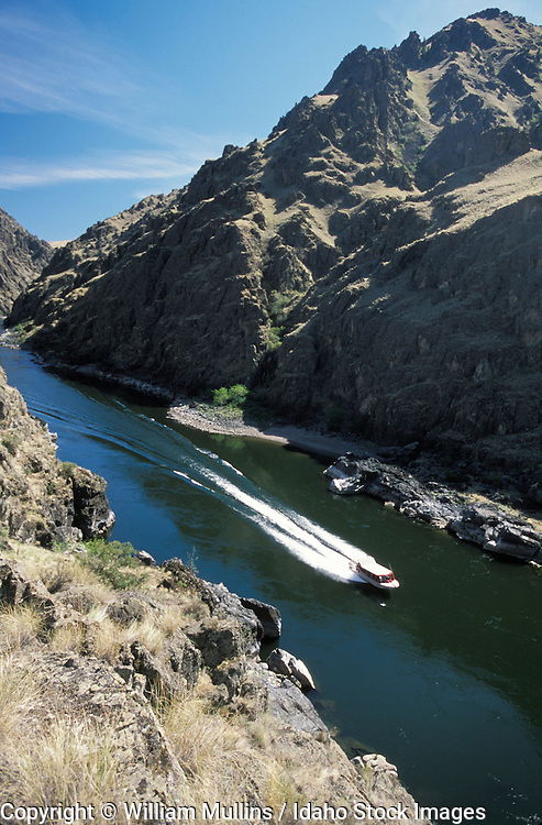 THIS PHOTO IS AVAILABLE FOR WEB DOWNLOAD ONLY. PLEASE CONTACT US FOR A LARGER PHOTO. Idaho. Hells Canyon. Jet boat on Snake River above Salmon River Confluence.