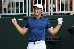 September 21, 2018 - Atlanta, GA, U.S. - ATLANTA, GA - SEPTEMBER 21:    Rory McIlroy grimaces after his tee shot during the second round of the Tour Championship on September 21, 2018, at East  Lake Golf Club in Atlanta, GA.  (Photo by Michael Wade/Icon Sportswire) (Credit Image: © Michael Wade/Icon SMI via ZUMA Press)