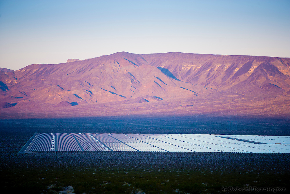 Large array of thin film photovoltaic panels in the Eldorado Valley of the Mojave Desert in Nevada.