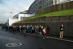 © Licensed to London News Pictures. 25/08/2015. Southampton, UK.  Supporters of Jeremy Corbyn arrive ahead of his rally held in the Hilton at the Ageas Bowl in Southampton after rumours for a Labour split.