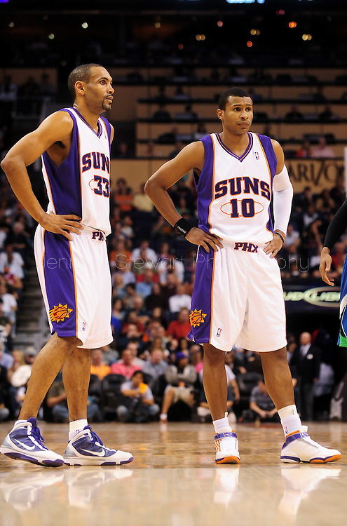 Mar. 16 2010; Phoenix, AZ, USA; Phoenix Suns forward Grant Hill (33) and teammate guard Leandro Barbosa (10) during the first half at the US Airways Center. The Suns defeat the Timberwolves 152-114. Mandatory Credit: Jennifer Stewart-US PRESSWIRE.