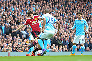 Matteo Darmian of Manchester United during the Barclays Premier League match between Manchester City and Manchester United at the Etihad Stadium, Manchester, England on 20 March 2016. Photo by Phil Duncan.
