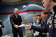 David Plotz speaks to fans after the taping of Slate's Political Gabfest on December 7, 2011 at Grinnell College.