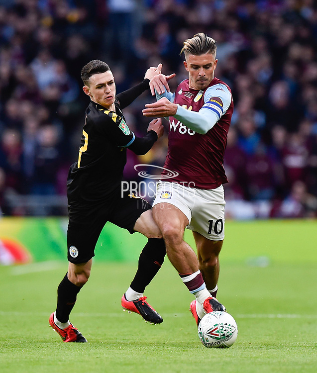 Phil Foden (47) of Manchester City battles for possession with Jack Grealish (10) of Aston Villa during the Carabao Cup Final match between Aston Villa and Manchester City at Wembley Stadium, London, England on 1 March 2020.