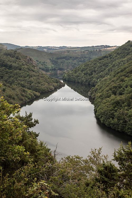 France. Massif central. la truyere river belvedere and valley, near saint flour citycenter of france / le belvedere de la riviere la truyere pres de saint flour dans le cantal,