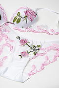 female underwear Bra and Panties with floral design, on pink background
