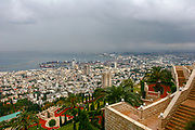Israel, Haifa. downtown and the bay of Haifa as seen from mount Carmel