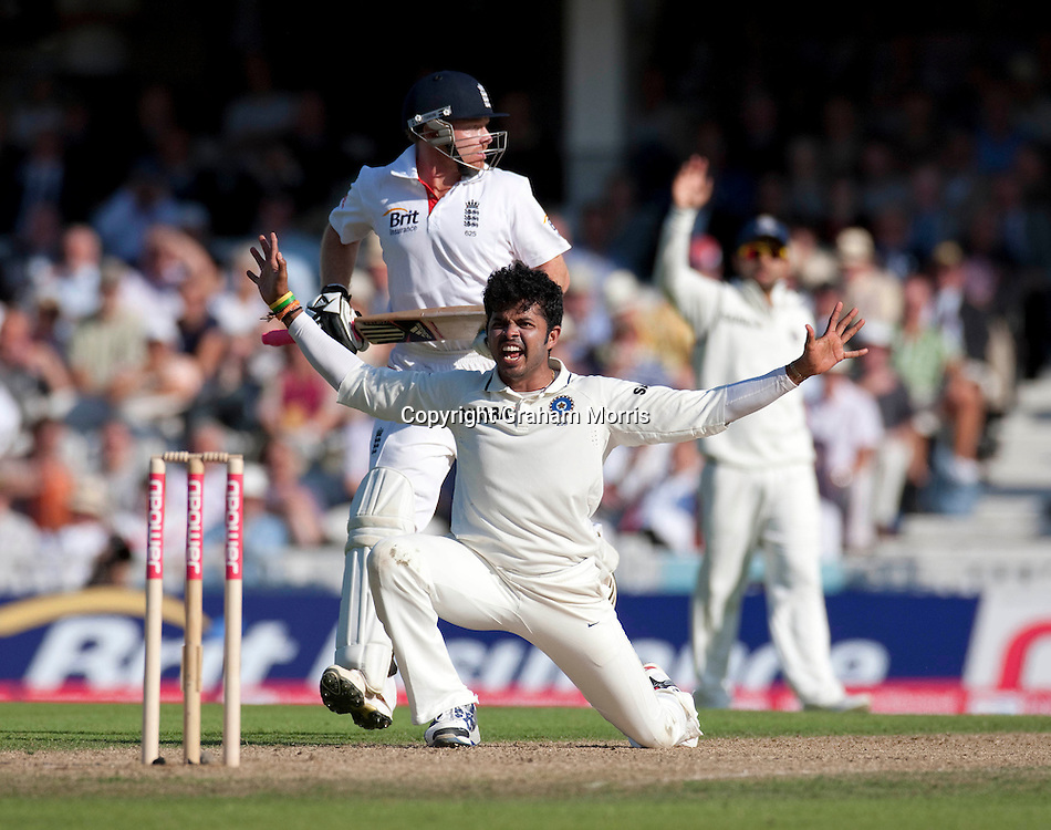 Bowler Sreesanth appeals as not lbw Ian Bell passes during his century in the fourth and final npower Test Match between England and India at the Oval, London.  Photo: Graham Morris (Tel: +44(0)20 8969 4192 Email: sales@cricketpix.com) 19/08/11