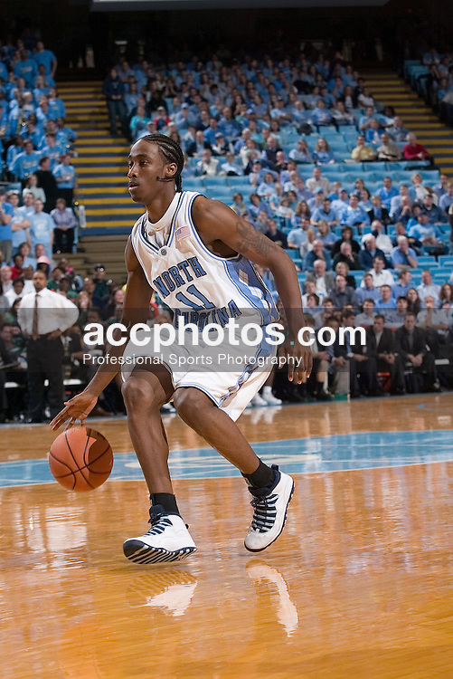 14 January 2006: Quentin Thomas (11) during a North Carolina Tar Heel 81-70 loss to the Miami Hurricanes in the Dean Smith Center in Chapel Hill, NC.