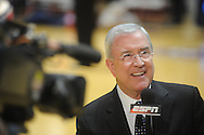 "ESPN's Ron Franklin announces the Mississippi vs. Memphis in NIT second round basketball action at the C.M. ""Tad"" Smith Coliseum in Oxford, Miss. on Friday, March 19, 2010. Ole Miss won 90-81."