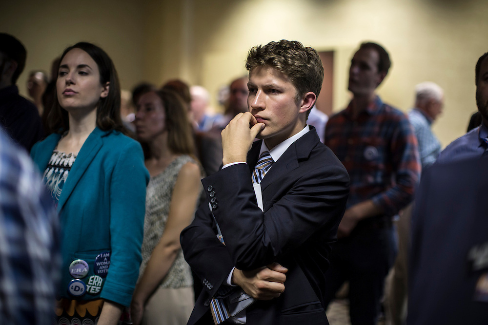 An attendee at a Democratic LDS caucus meeting during the Democratic National Convention on Tuesday, September 4, 2012 in Charlotte, NC.