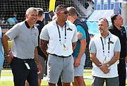 Oct 13, 2019; Jacksonville, FL USA;  Former Jacksonville Jaguars players from left to right are Mark Brunell, Jason Babin and Mike Hollis are on hand during the Jaguars 25th Anniversary season during an NFL game against the New Orleans Saints at TIAA Bank Field in Jacksonville, FL. The Saints beat the Jaguars 13-6. (Steve Jacobson/Image of Sport)