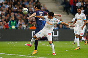Hiroki Sakai of Marseille and Edinson Cavani of PSG during the French Championship Ligue 1 football match between Olympique de Marseille and Paris Saint-Germain on October 22, 2017 at Orange Velodrome stadium in Marseille, France - Photo Philippe Laurenson / ProSportsImages / DPPI