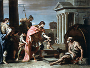 Alexander and Diogenes. Alexander The Great (Alexander III of Macedon 356-323 BC) visiting Diogenes of Sinope (c410 -c320 BC), Greek Cynic philosopher living in his tub in Athens. Sebastiano Ricci (or Rizzi, 1662-1734) Italian painter.   Oil on canvas.