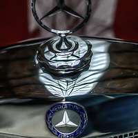 Classic car. Close up of Mercedes emblem