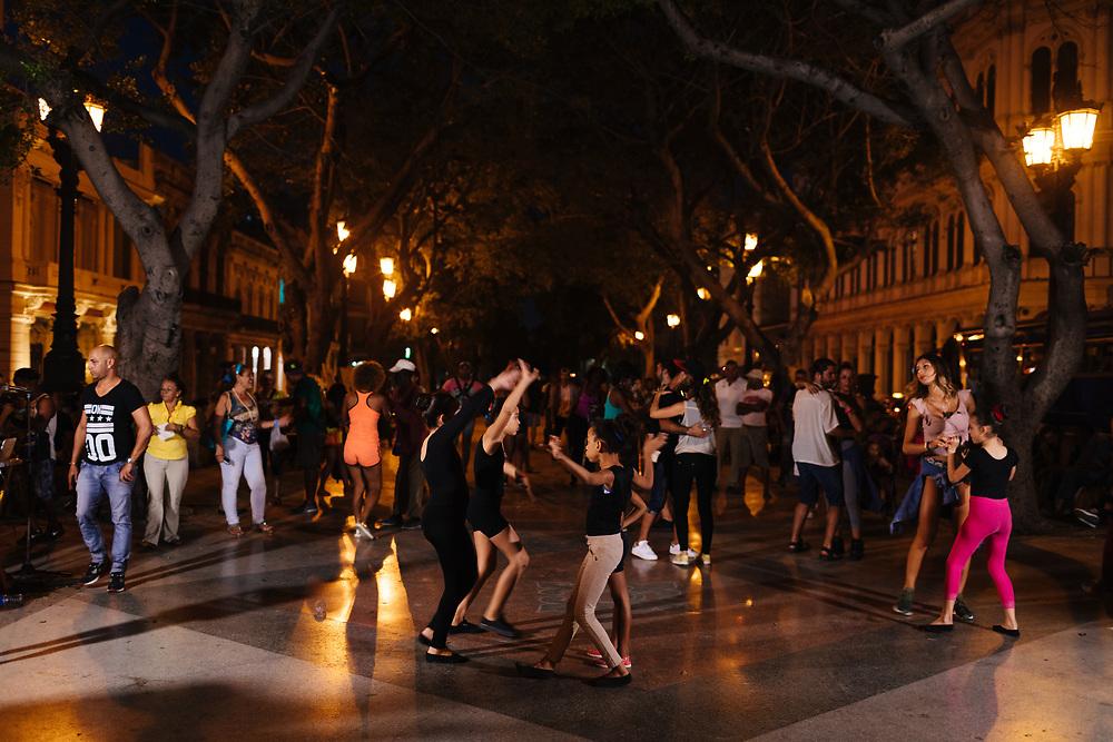 Group of children dance in Old Havana, Havana Cuba