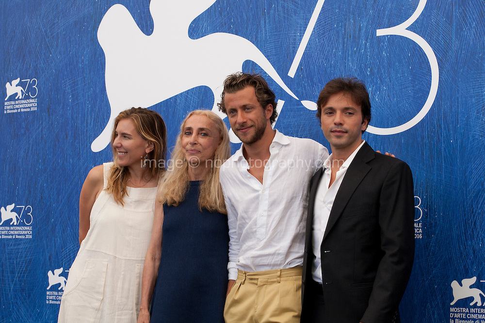 Producer Amy Berg, Franca Sozzani, director Francesco Carrozzini and producer Daniele Di Lorenzo at the Franca: Chaos And Creationt film photocall at the 73rd Venice Film Festival, Sala Grande on Friday September 2nd 2016, Venice Lido, Italy.