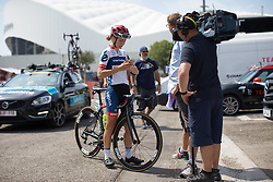 Cecilie Uttrup Ludwig (DEN) of Cervélo-Bigla Cycling Team chats to a Danish TV crew before La Course High Speed Pursuit 2017 - a 22.5 km pursuit road race on July 22, 2017, in Marseille, France. (Photo by Balint Hamvas/Velofocus.com)