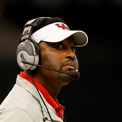 November 10, 2011; New Orleans, LA, USA; Houston Cougars head coach Kevin Sumlin against the Tulane Green Wave during the second half at the Mercedes-Benz Superdome.  Houston defeated Tulane 73-17. Mandatory Credit: Derick E. Hingle-US PRESSWIRE