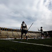 Jack Reid #18 of the Boston Cannons warms up prior to the game at Harvard Stadium on May 10, 2014 in Boston, Massachusetts. (Photo by Elan Kawesch)