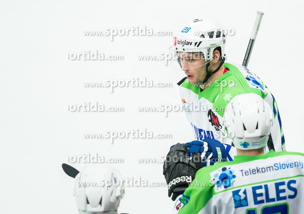 Ales Kranjc of Slovenia during ice-hockey friendly match between National teams of Slovenia and Japan, on April 10, 2015 in Arena Podmezakla, Jesenice, Slovenia. Photo by Vid Ponikvar / Sportida