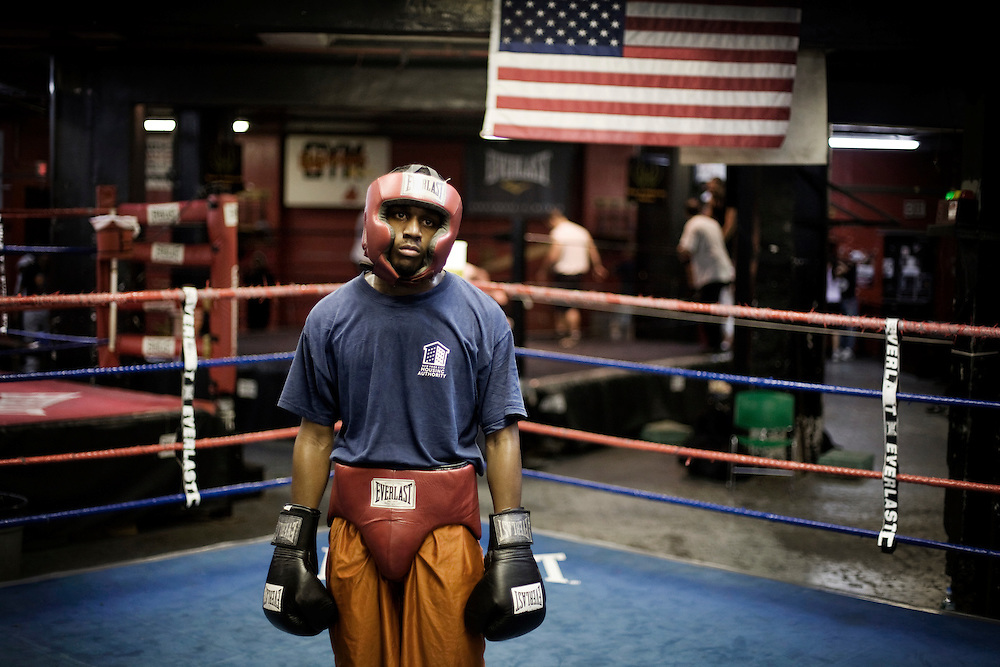 Boxer, Brooklyn, 2008...PORTFOLIO...Ariel Duran is a professional boxer training every day at Gleason´s Gym in Brooklyn, New York. Gleason´s Gym is the oldest still existing boxing gym in the world, and many world championship boxers have trained there. Mike Tyson and Muhammad Ali are among them...Photo: Andrea Gjestvang/MOMENT
