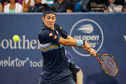August 15, 2018 - Cincinnati, OH, U.S. - CINCINNATI, OH - AUGUST 15: Kei Nishikori (JPN) hits a two-handed backhand during the Western & Southern Open at the Lindner Family Tennis Center in Mason, Ohio on August 15, 2018. (Photo by Adam Lacy/Icon Sportswire) (Credit Image: © Adam Lacy/Icon SMI via ZUMA Press)