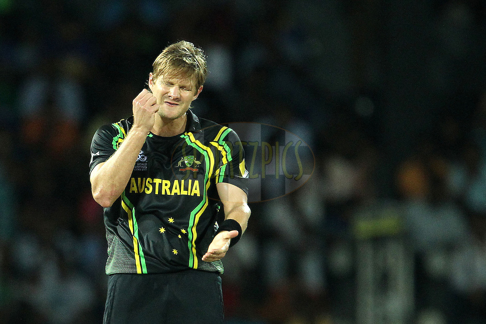 Shane Watson reacts after bowling during the ICC World Twenty20 Super 8s match between Australia and India held at the Premadasa Stadium in Colombo, Sri Lanka on the 28th September 2012..Photo by Ron Gaunt/SPORTZPICS