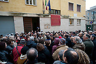 Roma 31 Gennaio 2010.Manifestazione delle associazioni partigiane e antifasciste davanti al  Museo Storico della Liberazione in via Tasso per protestare contro le scritte fasciste sui muri del museo.