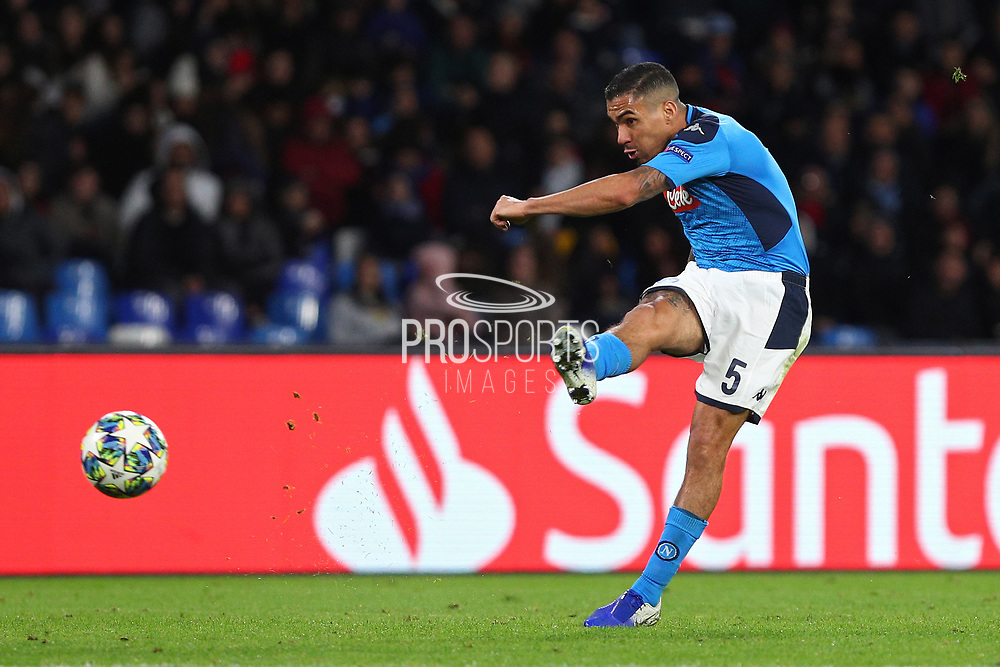 Allan of Napoli in action during the UEFA Champions League, Group E football match between SSC Napoli and KRC Genk on December 10, 2019 at Stadio San Paolo in Naples, Italy - Photo Federico Proietti / ProSportsImages / DPPI