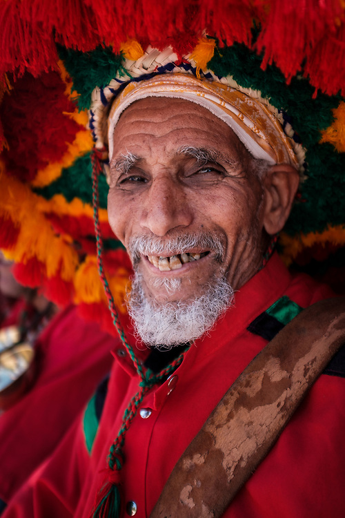 MARRAKESH, MOROCCO - CIRCA APRIL 2018: Portrait of water man in Parc Lalla Hasna in Marrakesh