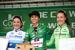 Top three in the General Classification: Coryn Rivera (USA), Marianne Vos (NED) and Dani Rowe (GBR) at OVO Energy Women's Tour 2018 - Stage 5, a 122 km road race from Dolgellau to Colwyn Bay, United Kingdom on June 17, 2018. Photo by Sean Robinson/velofocus.com