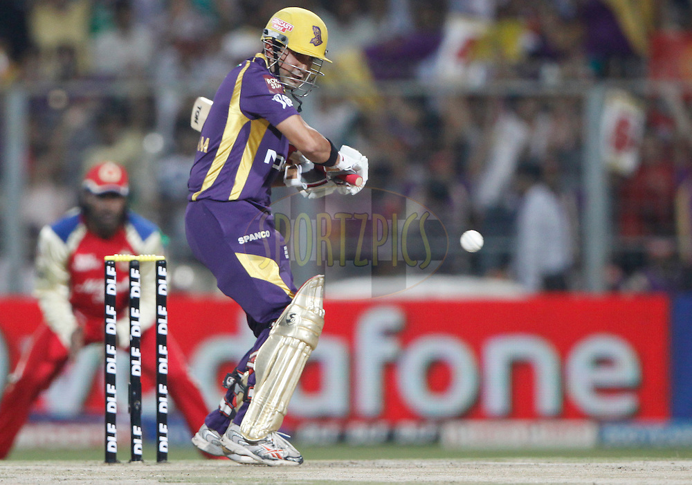 Kolkatta Knight Riders captain Gautam Gambhir play a shot during match 38 of the the Indian Premier League ( IPL) 2012  between The Kolkata Knight Riders and The Royal Challengers Bangalore held at the Eden Gardens Stadium in Kolkata on the 28th April 2012..Photo by Pankaj Nangia/IPL/SPORTZPICS