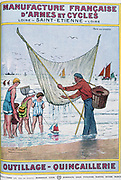 Cover of catalogue of Manufrance (Manufacture Francaise d'Armes et Cycles) Saint Etienne, c1920.  Shrimping. Seaside holidaymakers with professional fisherman taking catch from his net. Food Shellfish Tourism