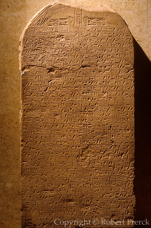 EGYPT, ANCIENT MONUMENTS, LUXOR MUSEUM the Stela of King Kamose which describes the Egyptian victory over the Hykos,  15th bc