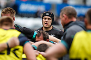 Ospreys No.8 James King, warms-up, before the Guinness Pro 12 2017 Round 21 match between Ospreys and Ulster at the Liberty Stadium, Swansea, Wales on 29 April 2017. Photo by Andrew Lewis.