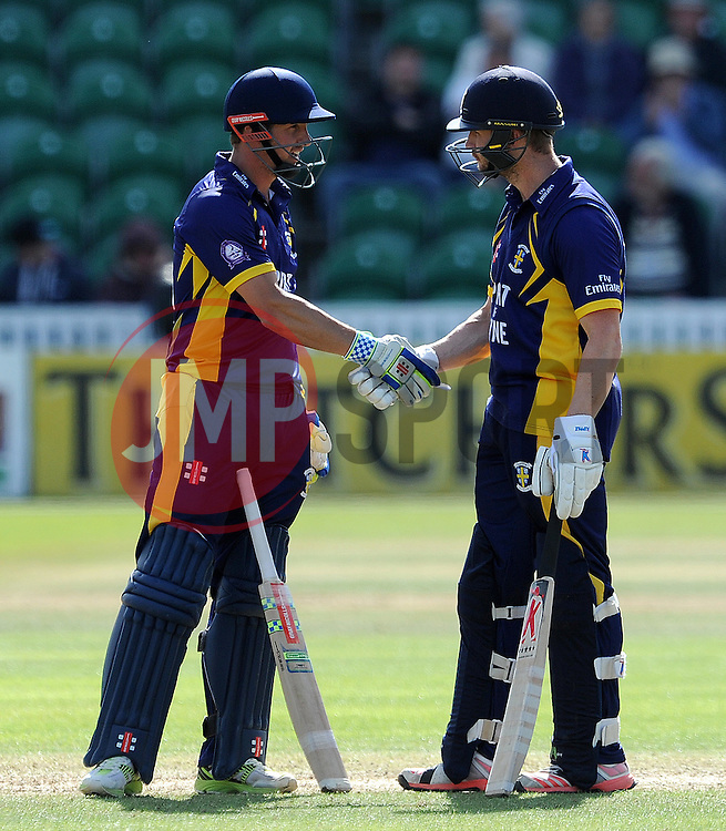 Durham's Phil Mustard and Mark Stoneman shake hands after sharing a partnership of 211 together. - Photo mandatory by-line: Harry Trump/JMP - Mobile: 07966 386802 - 29/07/15 - SPORT - CRICKET - Somerset v Durham - Royal London One Day Cup - The County Ground, Taunton, England.