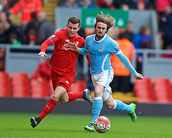 LIVERPOOL, ENGLAND - Sunday, February 7, 2016: Liverpool's Brooks Lennon in action against Manchester City's Aleix Garcia during the Under-21 FA Premier League match at Anfield. (Pic by David Rawcliffe/Propaganda)