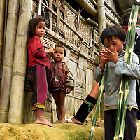 Children playing outside small house at Northern Vietnam